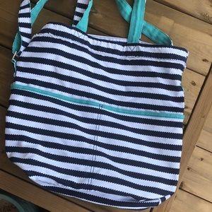Thirty One Metro Retro Tote Bag Shoulder Stripe Navy White Aqua Nautical